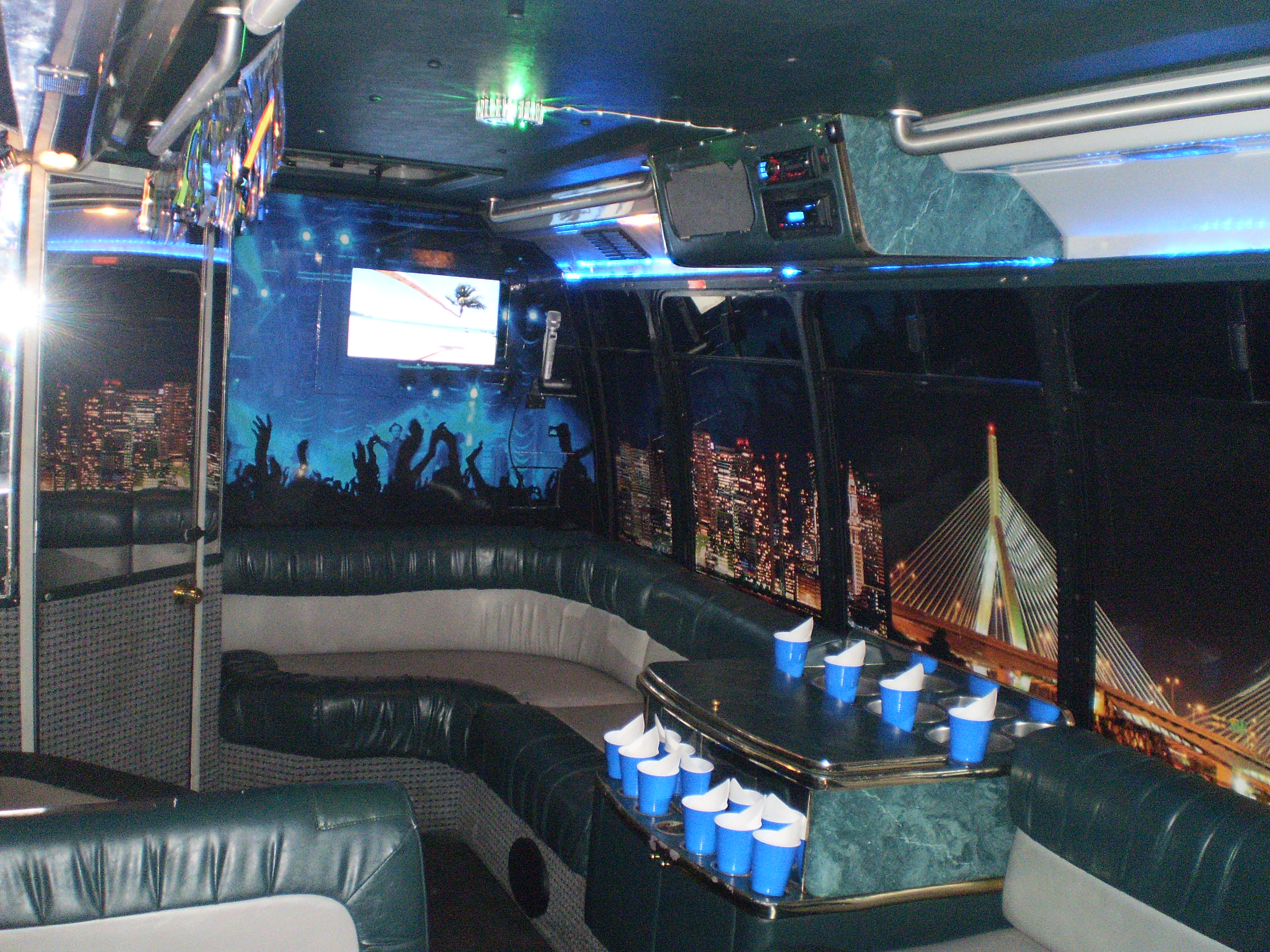 Passenger Party Bus - Inside View at Night